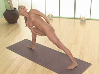 Side angle pose with binds in new naked yoga lesson