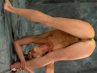 Hot flexible girl in nude yoga poses