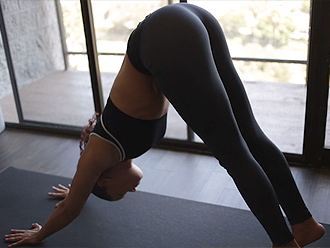 Sexy mulatto in hot yoga pants