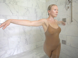 Erotic yoga in the shower