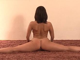 Busty nude yoga girl