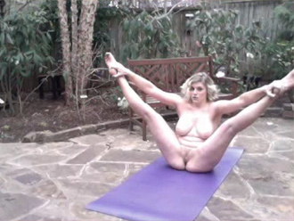 Naked yoga selfie in the backyard