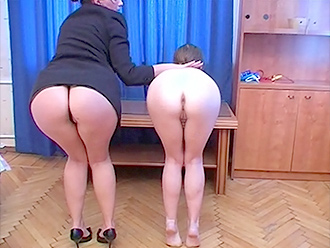 Lesbian yoga instructor with flexible nude girl