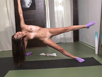 Young flexible girl in tempting nude yoga poses