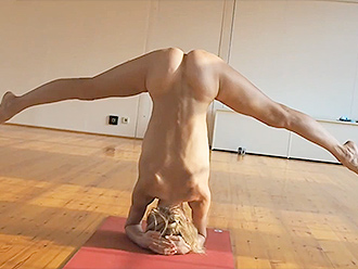 Nude yoga solo performance