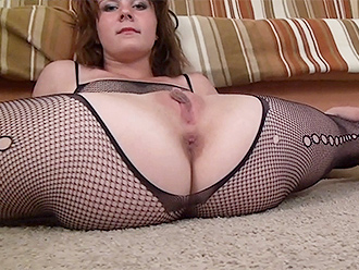 Nude yoga split in torn fishnet pantyhose