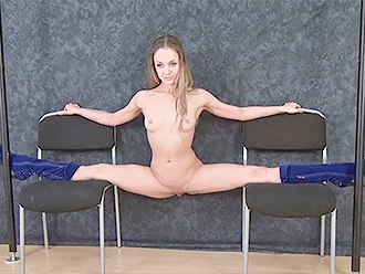 Hot nude yoga split on 2 chairs