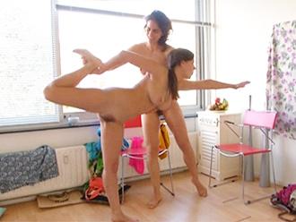 Hot lesbian yoga video