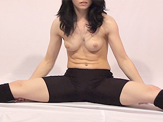 Topless nude yoga exercises