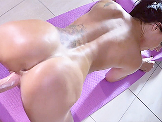 Busty nude yoga teacher has yoga sex with her student
