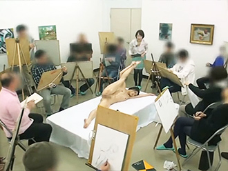 Naked yoga in Japanese nude art class