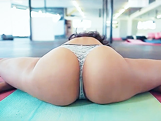 Cute Latino gymnast in hot yoga video