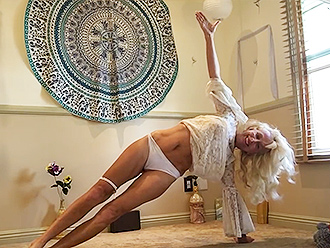 Mature woman in amateur nearly nude yoga video