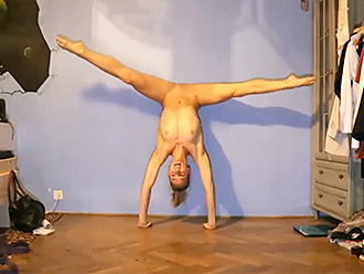 Webcam naked yoga video at home