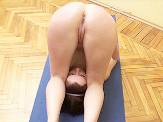 Amateur nude yoga on the yoga mat