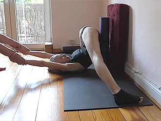 Homemade hot yoga video with the flexible gymnast