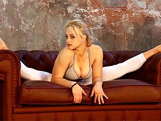 Busty gymnast Karina in sexy yoga video