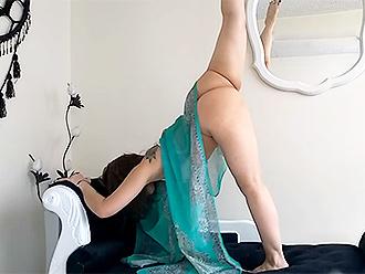 Homemade nearly nude yoga webcam video