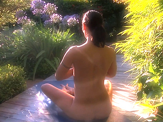 Looking for peace in mind with nude yoga