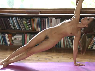 Naked yoga workouts in the library