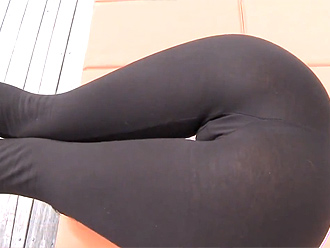 Hot brunette in yoga pants shows off her super appetizing butt