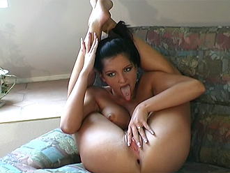 Naked flexible girl in amateur nude yoga poses