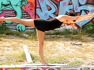 Hot yoga teacher in her first tutorial video