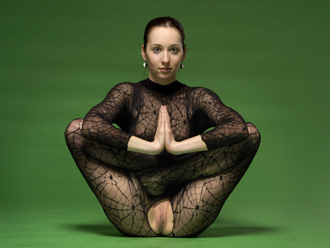 Hot nude yoga teacher Nataly in torn fishnet bodysuit