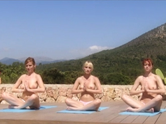 Intense outdoor nude yoga meditation