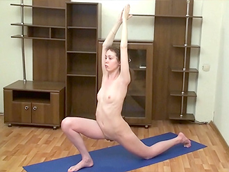 Amateur naked yoga workout