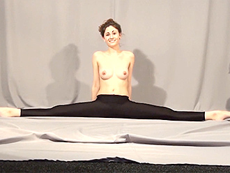 Topless gymnast in sexy yoga pants
