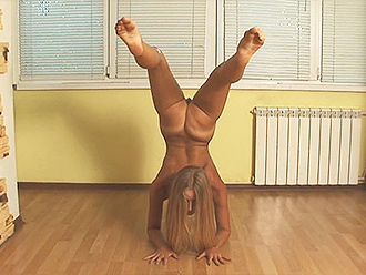 Nude yoga erotica with the naked gymnast