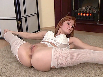 Flexible girl in sexy white lingerie does nude yoga