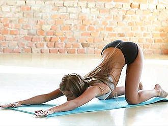 Sexy yoga girl in hot yoga shorts