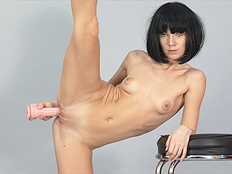 Naked ballerina with a big dildo