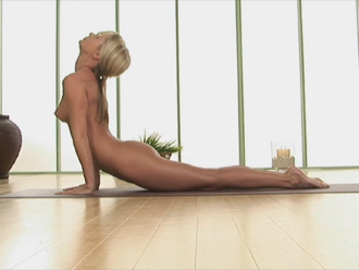 Nude yoga lessons - plank pose, upward facing dog and downward facing dog