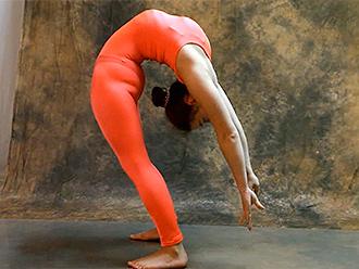 Hot yoga girl in sexy bodysuit