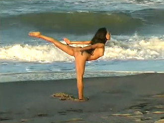 Exciting nude yoga workout on the beach