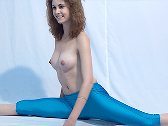 Naked yoga exercises in yoga pants