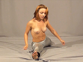 Topless naked yoga exercises