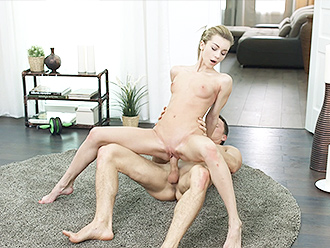 Flexible naked girl has yoga sex with a next-door boy