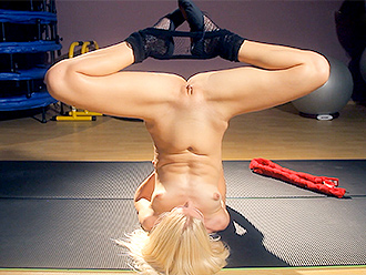 Naked yoga striptease