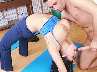 Busty nude yoga amateur gives head to her trainer