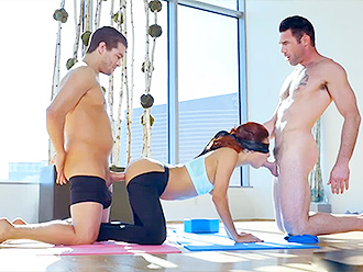 Yoga porn video with the double penetration
