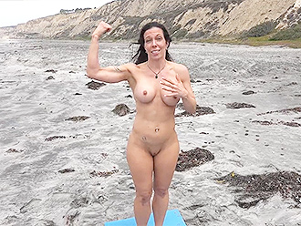 Nude yoga at the beach