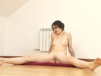 Small-titted amateur girl does nude yoga exercises