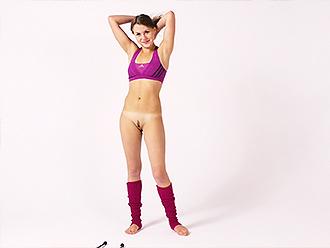 Nude gymnastics with clubs