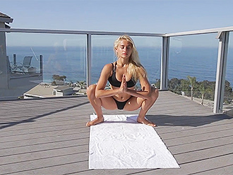 Instructional outdoor sexy yoga video