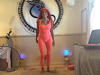 Milfy redhead shows off her skills in sexy yoga video