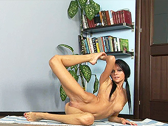Skinny girl does nude yoga at home